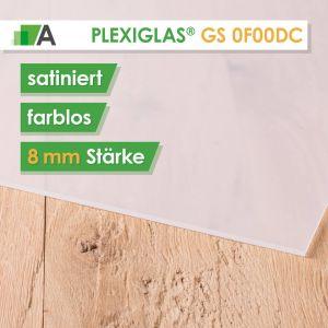 PLEXIGLAS® GS Satinice 0F00 DC farblos / crystal Stärke 8 mm satiniert